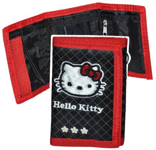 alles-meine.de GmbH Geldbörse Hello Kitty Blumen schwarz - Geldbeutel Portemonnaie für Kinder - Geld Buskarte Geldtasche Mädchen pink - mit durchsichtigen Einschubfach
