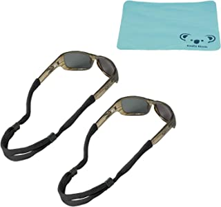 Chums No Tail Cotton Eyewear Retainer Sunglass Strap | Adjustable Eyeglass & Sports Glasses Holder Keeper Lanyard | 2pk Bundle + Cloth