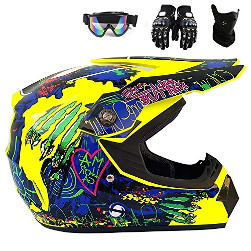 JCLDG Motos Motocross Cascos Casco de Moto Infantil Cross Integral Enduro Infantil...