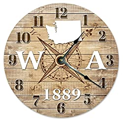WASHINGTON CLOCK Established in 1889 Decorative Round Wall Clock Home Decor Large 10.5 COMPASS MAP RUSTIC STATE CLOCK Printed Wood Image
