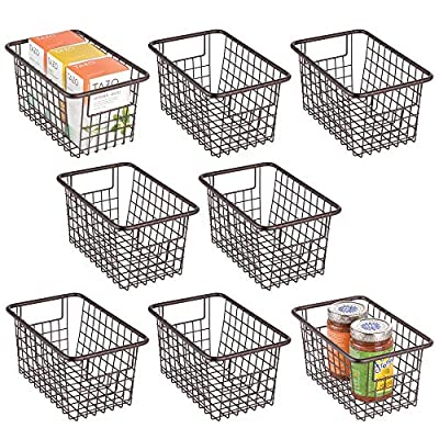 "mDesign Modern Metal Kitchen Basket with Handles, 5.25"" High, 8 Pack from"