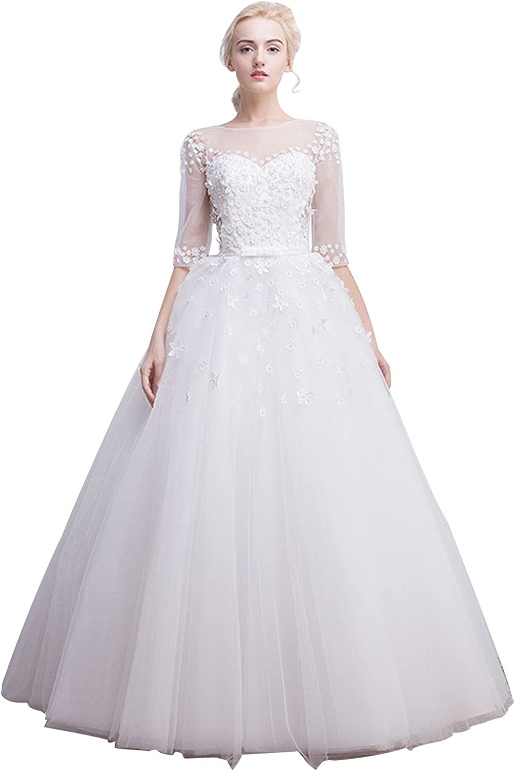 Fanciest Women's Flowers Lace Wedding Dresses with Half Sleeves Bridal Gowns White