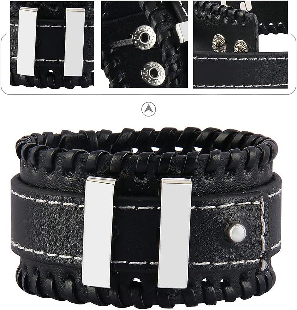 Leather Bracelet for Men Wide Wrap Bracelet Leather Cuff Bracelet Spike Studded Punk Rock Biker Leather Wristbands Handmade Jewelry