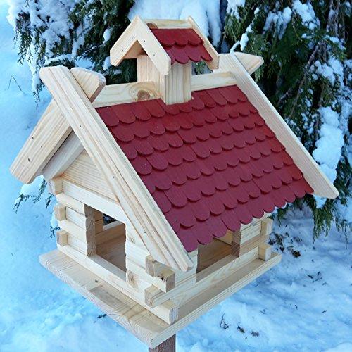Großes XXL Vogelhaus Schreinerarbeit Futterhaus Vogelhäuschen -- Wetterschutz lasiert -- Blockhaus Holz Vogelhäuser (Rot)