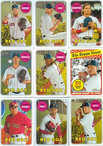 Boston Red Sox 2018 Topps Heritage Baseball Series Basic 12 Card Team Set with Mookie Betts, Dustin Pedroia, Rafael Devers Rookie Card Plus