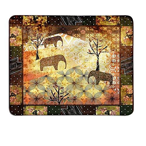 Afrikanische gemusterte Mauspad Patchwork inspiriert Muster Grunge Vintage vorgestellten Elefanten Bäume Rosen Printcustomized Mauspad Multicolor