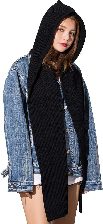 Fansino Stylish Girls Winter Knit Hooded Scarf Pullover Headscarf Hoodie Hat (Black)
