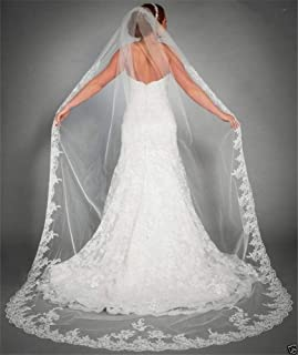 Bridal Veil Wedding Veils Cathedral Bridal Veils One Layer Long Lace Bridal Veils 3 Meters White Ivory 0603 yynha (Color :...