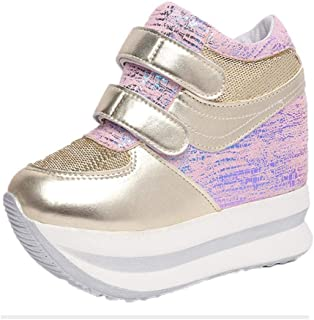 Women's Casual Breathable Height Increasing Platform Shoes Trainers (Color : Pink, Size : 2.5 UK)
