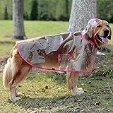 Lepep Chubasquero transparente para perros, impermeable poncho de lluvia ajustable para perros grandes y medianos de tamaño XXL hasta 6XL (rosa, 5XL)