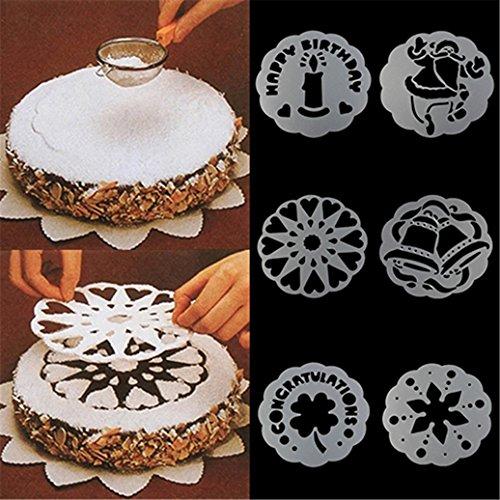 6pezzi di torta stampi stampi biscotti pasticceria decorazione Mold fondant cake spray stencil stencil pittura Carved Hollow Out Happy Birthday cake Mold