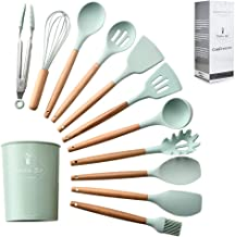 """ComCreate"" Silicone Cooking Kitchen 11PCS Wooden Utensils Tool for Nonstick Cookware,Cooking Utensils Set with Bamboo Woo..."