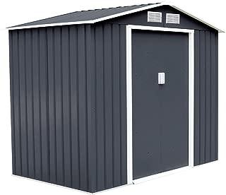 Goplus Outdoor Storage Shed Sliding Door Garden Tool House 9' X 6' (Gray)