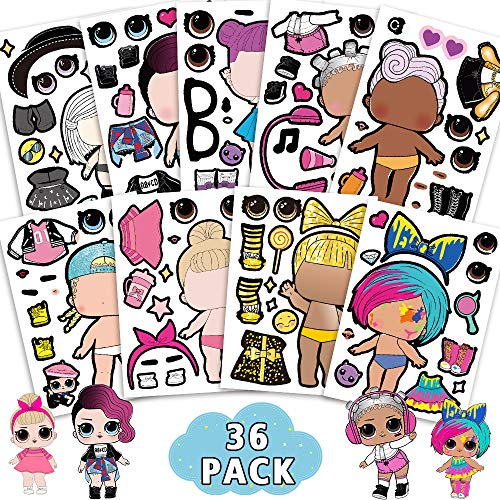 LOL Girls Make a Face Stickers Party Supplies for Kids Girls Birthday Party School Rewards Pin Games
