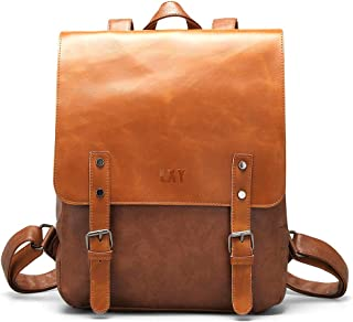 Vegan Leather Backpack Vintage Laptop Bookbag for Women Men,LXY Brown Leather Backpack College School Bookbag Weekend Travel Daypack Brown Brown-1 Fits 14; 13 in Laptop