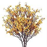 HUAESIN 4pcs Flores Artificiales Pequeñas Decoracion GypsophilaArtificial Orquideas Amarilla Baby...