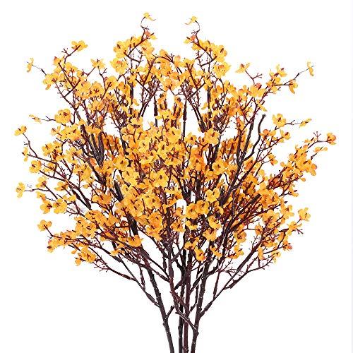 HUAESIN 4pcs Flores Artificiales Decoracion Jarrones, Orquideas Artificiales Pequeñas Falsa Gypsophila Amarillas Flores de Plastico para Exterior Interior Mesa Hogar Fiesta Balcon Terraza Cocina
