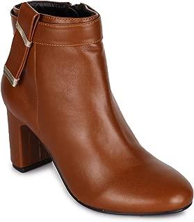 Bruno Manetti Women Faux Leather Tan Heel Boots