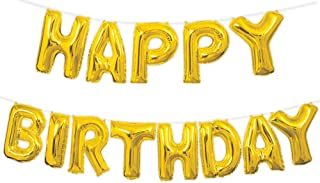 """Unique Party Air Filled 'Happy Birthday' Foil Balloon, Gold, 35cm (14"""")"""