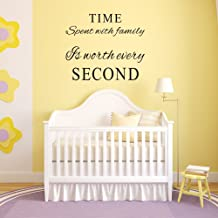 Marcheng Family Wall Decals~Time Spent with Family is Worth Every Second Wall Decal Quote Home Decor Art Quote Decals Wall Art Stickers Decal