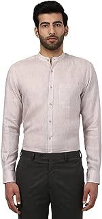 Raymond Full Sleeve Mandarin Collar Contemporary Fit Light Fawn Linen Solid Shirt for Men