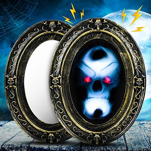Dookey Espejo Embrujado, Aterrador Movimiento Activado Sonido Espejo, Embrujado Accesorio Luminoso para Halloween Espejo Mágico de Halloween Espejo Ovalado Negro y Dorado