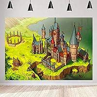 写真のためのZhyマジック城の背景 7x5ft / 2.1x1.5m 漫画の緑の牧草地の背景 テーマパーティー子供Bday装飾用品 写真撮影小道具24