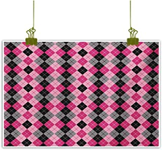 Homrkey Chinese Classical Oil Painting Argyle Motif with Diamonds and Lozenges Infinite Symmetric Stripes Image Baby Pink Black Grey Decorative Painted Sofa Background Wall 24