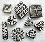 Wholesale Lot of Nine Exotic Wooden Block Stamps/Tattoo/Handcarved Indian Textile Printing Blocks