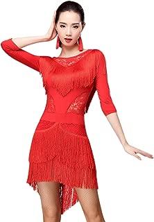 ZX Women Fringed Latin Costume Lace Neck Tango Rumba Latin Dance Dress with Shotrs