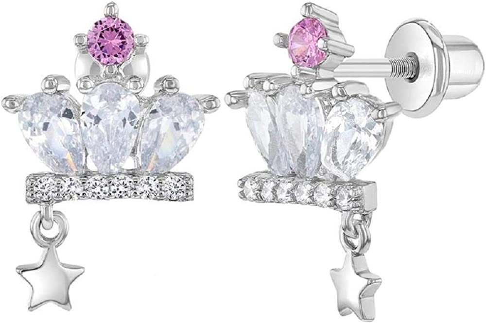 Pear Cut Cubic Zirconia Our shop most popular Princess Crown For Gi High quality new Screw Back Earring