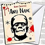 Frankenstein Scary Personalized Christmas Holiday Greetings Card