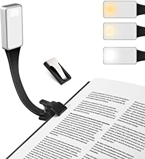 Luz de Lectura, LED Lampara Lectura Libros, USB Recargable, 3 modos de color con brillo ajustable, Flexible Pinza para Lectores Noche, E-Reader, Kindle, Estudio, Cama, Tablet