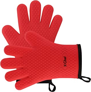 X-Chef Oven Mitts, Silicone Oven Gloves for BBQ Grilling Cooking, Heat Resistant with Cotton Lining for Barbeque or Kitchen Baking