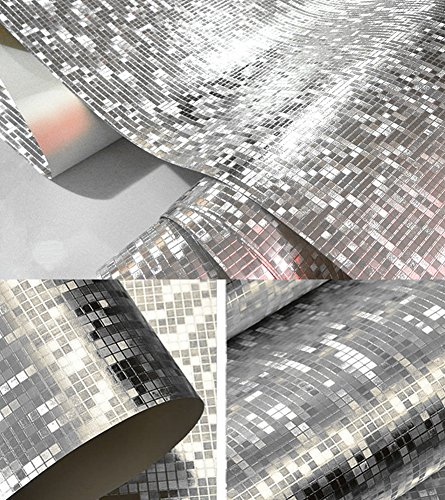 Teemall Luxury Silver Foil Mosaic Background Flicker Wall Paper Modern Roll/Hotel Ceiling/Decorative Wallpaper Roll Pale Silver Colour 20.8''x78.7''