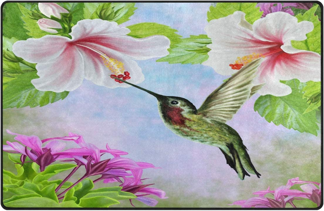 ALAZA Hummingbird Cheap mail order shopping Flower Blossom Super beauty product restock quality top Area Rug Rugs Non-Slip Floor Ma