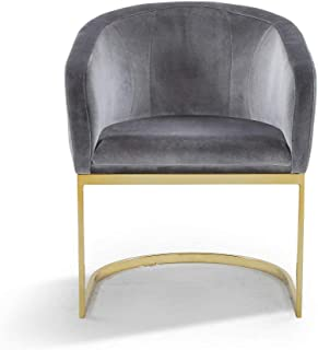 Iconic Home Siena Accent Club Chair Shell Design Velvet Upholstered Half-Moon Gold Plated Solid Metal U-Shaped Base Modern Contemporary Grey