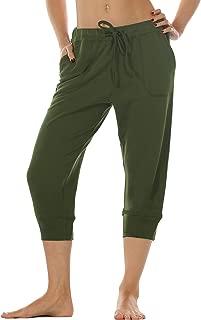Women's French Terry Jogger Lounge Sweatpants - Active Capri Pants for Women