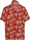 LA LEELA botón de la Camisa Hawaiana de los Hombres de Manga Corta hacia Abajo Palmera Impreso...