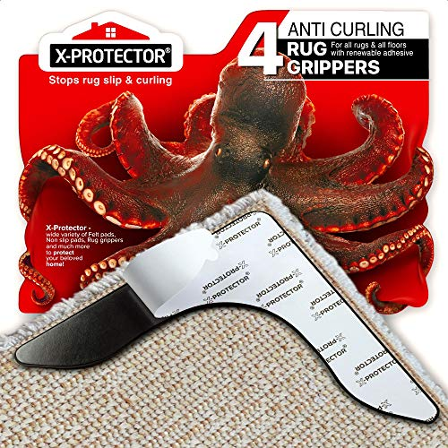 X-Protector Rug Grippers Best 4 pcs Anti Curling Rug Gripper - Keeps Your Rug in Place & Makes Corners Flat - Carpet Gripper for Corners with Renewable Carpet Tape – Ideal Non Slip Rug Pad for Rug!