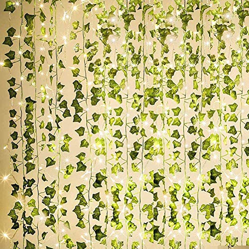 84Ft 12 Pack Artificial Ivy Garland Fake Plants, Outdoor Fake Vine UV Resistant Indoor Hanging Garland with 100 LED 32 Ft String Light, Hanging for Home, Kitchen, Garden, Wedding Décor (Green)