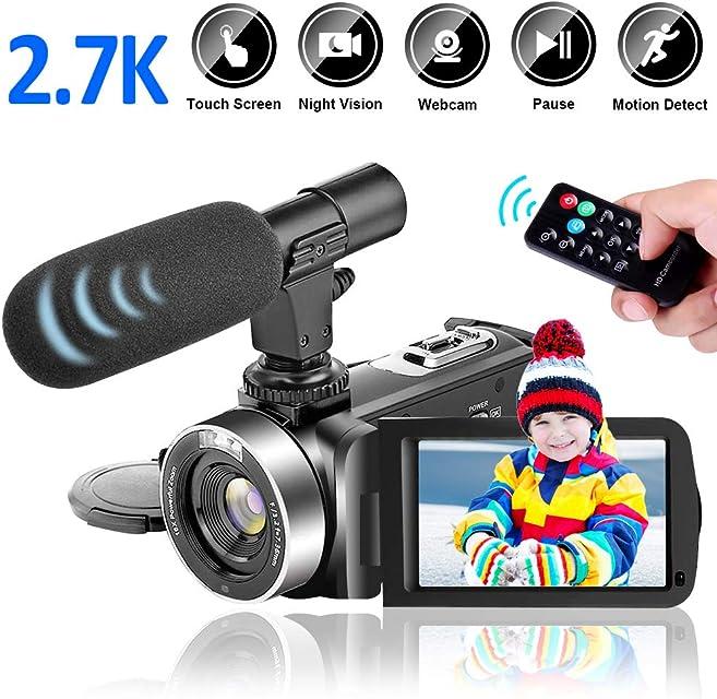 Videocamara Digital2.7K 30FPS 30MP Videocamara de Video con Pantalla Táctil Giratoria de 30 Pulgadas Videocámara de Lapso de Tiempo Cámara de Visión Nocturna por Infrarrojos