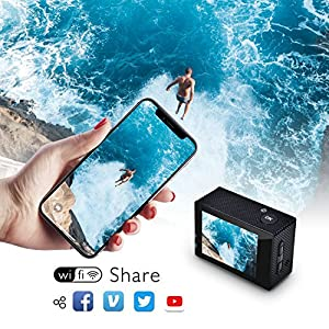 Campark ACT74 Camara Deportiva 4K 16MP WiFi 30M Impermeable con 2 Baterías y Kit de Accesorios (35.99 € Oferta De La Semana)