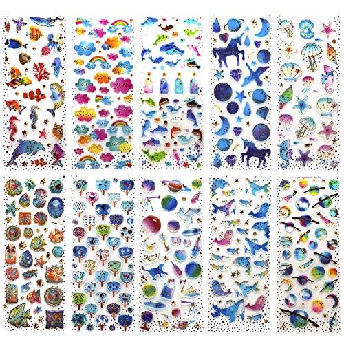 SAVITA 400+ Epoxy-klistermärken för barn flickor 3D puffiga klistermärken för Bullet Journal scrapbook-planerare inklusive snäckskal/hjärta/blommor/godis / moln/duva/droppflaskor/enhörning slott/val (10 ark)