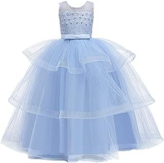 Kauneus 🌻 Beautiful Girls Princess Tutu Dress Layered Ruffles Lace Floral Tulle Party Gown Sleeveless Backless Cupcake Dress