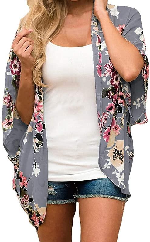 Women 1 2 Sleeve Kimono Floral Chiffon Loose Shawl Print Cardigan Feitong Tootu
