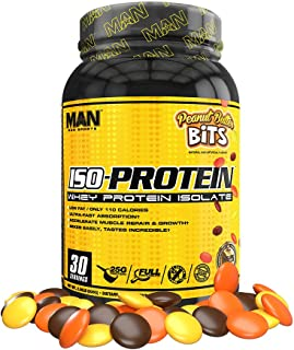 Man Sports Iso Protein. Peanut Butter Bits Flavored Gluten Free Whey Protein Powder for Muscle Growth and Repair (30 Servi...