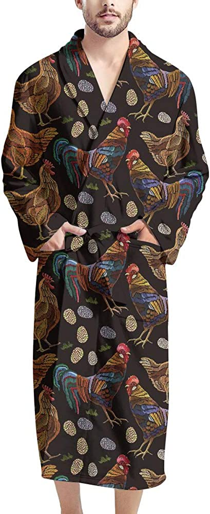 Poceacles Full Length V-neck Men's Bathrobes Warm Soft Cozy Robe with Tie Belt Breathable