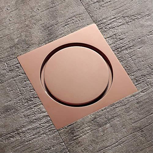 Bodenablauf, Quadrat 10X10cm Badezimmer Dusche Abfallgitter Sieb WC Balkon Wasser Anti Geruchsabläufe, Messing, Roségold