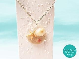 Seastar - trendige Boho-Chic-Halskette, Strandszene Anhänger, natürliche Muscheln und Seesterne, Ozean Schmuck, klare Harz Anhänger, Geschenk für sie - 27HH